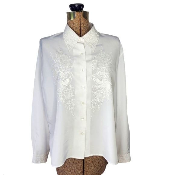Vintage white button down shirt with embroidery